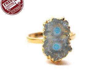 45% OFF Solar Rustic Druzy Ring, 22k Gold Electroplated Gemstone Druzy Adjustable Ring 1pc (DZRG-12054)