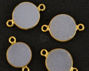 30% OFF Natural White Druzy, Bezel Round Shape Connector, 10mm Round 24K Gold Plated, Double Bail 1pc (NWZ-11155)