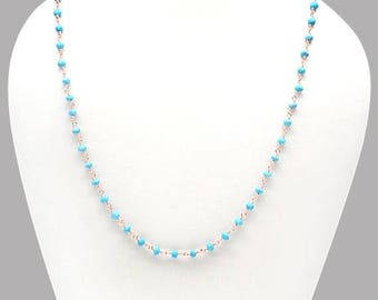 "50% OFF Turquoise Necklace Chain, 3-3.5mm Rose Gold Plated Wire Wrapped Beads Necklace Chain 18"" Long (RPTQ-90005)"