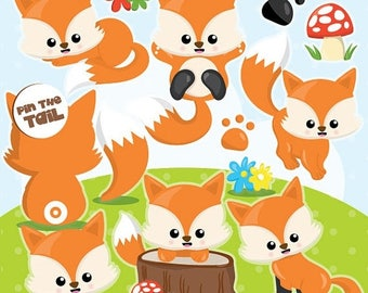 80% OFF SALE Fox clipart commercial use, foxes clipart vector graphics, woodland animals digital clip art, digital images - CL994