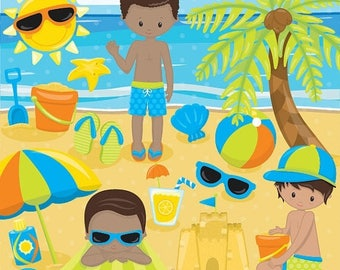 80% OFF SALE Beach party clipart commercial use, beach kids vector graphics, vacation kids digital clip art, digital images  - CL852