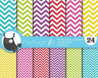 80% OFF SALE Chevron digital paper, commercial use, chevron scrapbook papers, background polka dots, chevron, stripes - PS669