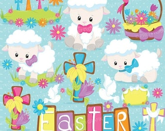 80% OFF SALE Easter lamb clipart commercial use, easter crosses vector graphics, digital clip art, digital images  - CL821