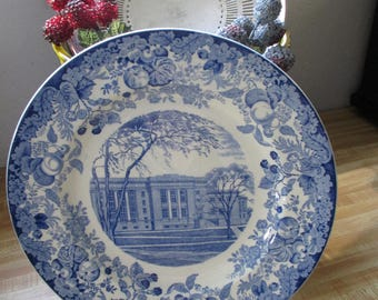 Vintage Blue Transfer -  Wedgwood Harvard University 1927 - The Law School - Langdell Hall  - Estate find!