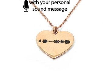 Sterling silver soundwave necklace rose gold plated,waveform necklace,custom sound wave pendant, waveform on heart, sonogram ultrasound
