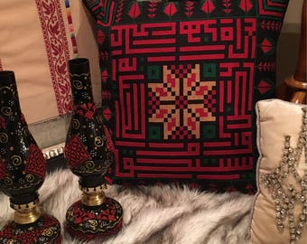 """20""""x20""""Hand stitched black and red pillow cover"""