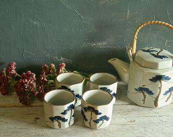 Vintage Japanese Octagon Shaped Stoneware Teapot and Cups, 1970s, Gift for Tea Drinker, Handpainted Floral Design, Unique Wedding Gift