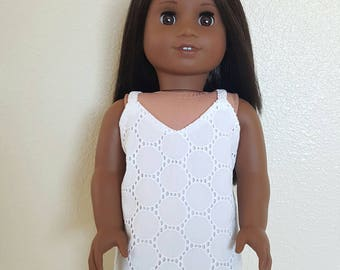 White Eyelet Slip Dress for 18 inch dolls by The Glam Doll