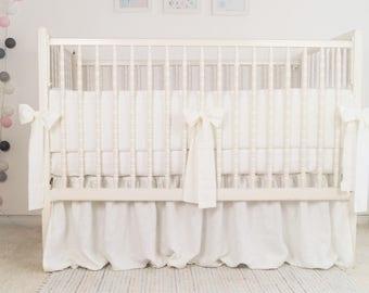 White Crib Bedding, White Nursery Bedding, Linen Crib Bedding, Baby Bedding Crib, Baby Bedding Linen, Crib Bedding Neutral, Baby Bedding