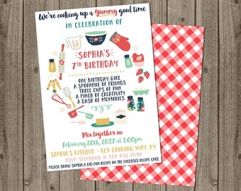 Chef invitation etsy kids cooking birthday invite cooking baking birthday baking invite with recipe cards 5x7 stopboris Gallery