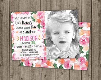 Photo Butterfly Flower Garden Birthday Invite - Garden Party Birthday - First Birthday Invite - 5x7 JPG DIGITAL FILE (Front and Back Design)