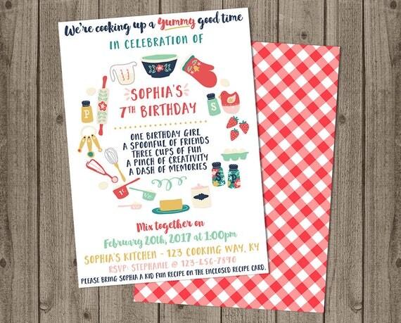 Kids cooking birthday invite cooking baking birthday like this item stopboris Gallery