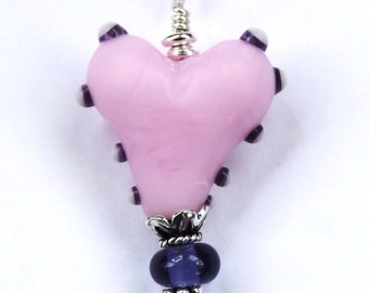 Heart Necklace, Pink Heart Necklace, Pink and Purple , Lampwork Heart Pendant, Lampwork Bead Jewelry, Murano Glass, Sterling Silver, Beads