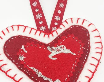 Christmas heart decorations / red and white reindeer / felt christmas tree decoration / hanging decoration / stocking filler / gift idea