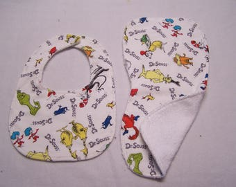 Dr. Suess, Cat in the Hat, Horton Hears A Who bib and burp cloth sets for baby boys, girls, infants, or toddlers.