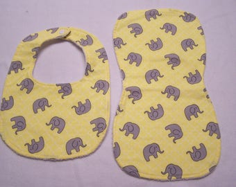 Elephants, elephants and more elephants bib and burp cloth sets for baby boys, girls, infants, or toddlers.