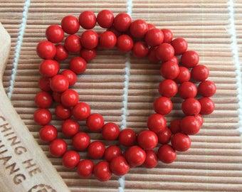 Cinnabar beads bracelet,zinnober,vermilion,composite beads bracelet,beaded bracelet,multi strands,red bracelet, handmade jewelry FJ0004