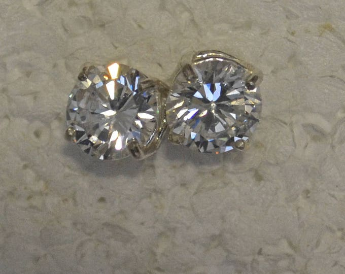 White Zircon Studs, Large 9mm Round, Natural, Set in Sterling Silver E1109