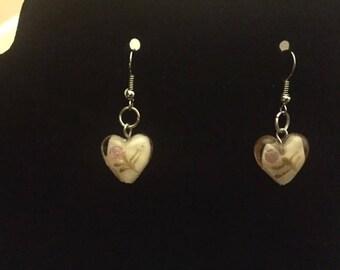 Merano Glass Earrings Tan and White