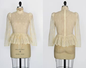 Wind in Reeds Blouse / 1970s does Edwardian lace blouse / vintage embroidered lace sheer top