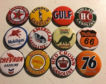 12 Gas Station Sign Magnet with pictures of vintage gas station signs