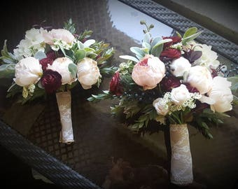 Reserved, Bridal Bouquet, Nine Bridesmaid Bouquets, Throw Bouquet Rustic Chic Blush Pink & Burgundy Faux Bridal Flowers, Wedding Flowers