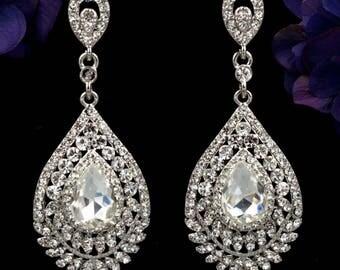 "Dangle Crystal Chandelier Silver Wedding Gauges Plugs earrings 8mm 0g 10mm 00g 7/16"" 11mm 1/2"" 12mm 9/16"" 14mm 5/8"" 16mm 11/16"" 19mm 3/4"""