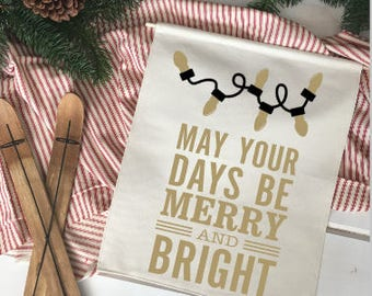 May your days be merry lights Christmas wall decor/ christmas decoration/ wall hanging/ farmhouse christmas/ christmas sign/ gold christmas