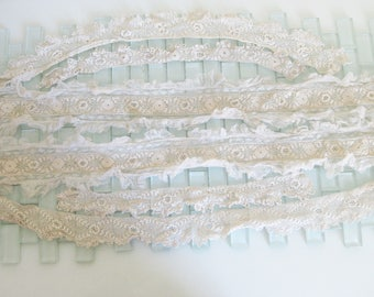 Antique Irish Crochet Trim 10.5 feet total in 6 pieces Lace
