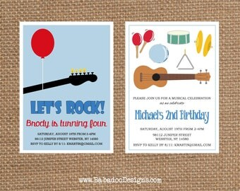 MUSICAL INSTRUMENT + GUITAR // Birthday + Baby + Bridal Shower // Full Service Printing + Coordinating Items