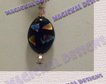Black, iridescent, Pendant, on multi strand Ribbon, necklace, pink, blue, gold, purple, stocking stuffer, teacher gift, under 10 dollars