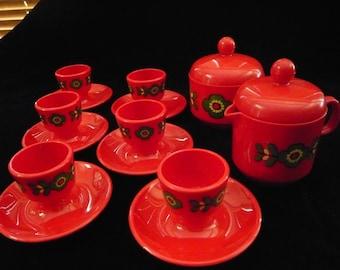 Vintage EMSA Set of 6 EGG CUPS & Lidded Cream and Sugar Set Tomato Red Circa 1960s West German