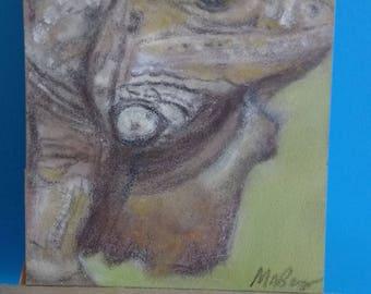 Original Iguana Lizard Pastel Aceo Wildlife Painting Drawing Animal ATC Art Card