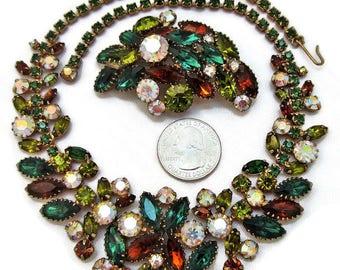 Vintage Juliana D & E Rhinestone Necklace Brooch Set Amber Greens AB Rhinestones