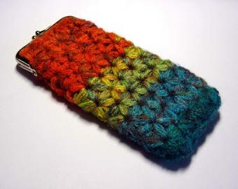 Spectacle case crocheted multicolored acrylic n 007