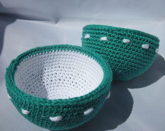 1 lunch Bowl crocheted in 100% cotton and hard Cup (n ° 1)