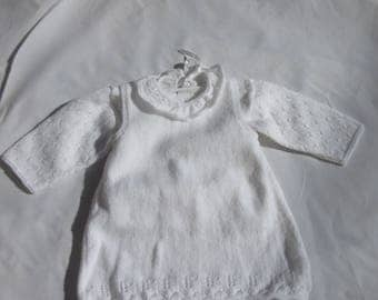 (3) hand - knitted sleeveless jacket and booties christening gown
