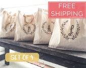 Bridesmaid Tote Bags, Gifts for Bridesmaids, Monogrammed Tote Bags, Single or Three Letter Monogram, Laurel Leaf Monogrammed Bag
