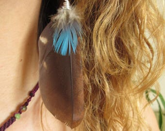 Natural Feather Earrings - Grey/Gray & Blue Feather Ethnic Earrings with a red and black seed
