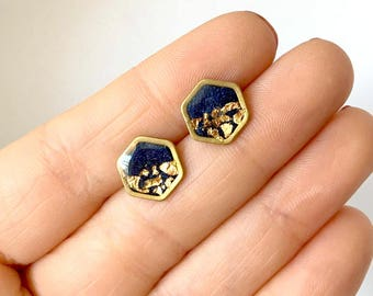 Blue Hexagon Earrings-  Gold and blue geometric studs- Delicate gold dipped posts - elegant everyday earrings