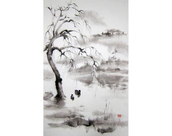 Black and White Japanese Ink Painting Sumi-e Ink on Washi paper  Japanese art Asian art Flower and Bird Large Couple ducks in misty motning