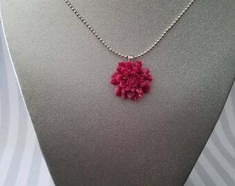 Fall Magenta Flower Pendant
