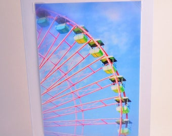 Colorful Ferris Wheel - 5x7 Blank Greeting Card - Set of 5