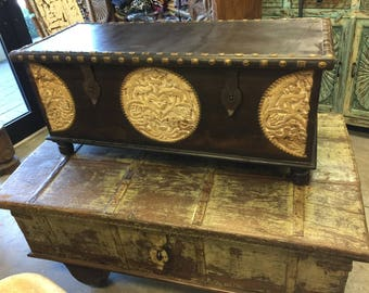 Spice Route Journey Vintage Tobacco Dark Brown Trunk Coffee Table, Circle Floral Carved Chest Brass Cladded Trunk Pitara