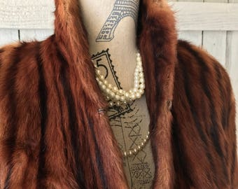 Vintage Mink Shoulder Wrap Fur Stole Cape Size Medium to Large Women's Vintage Clothing Photo Prop by picadillymarket