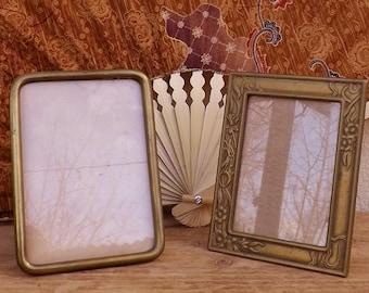 Two antique brass photo frames French Art Nouveau / Victorian portrait frames keepsake frames heirloom frames
