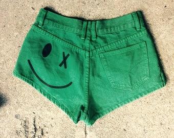 90s smiley face shorts booty shorts 90s green daisy dukes summer shorts vintage 90s