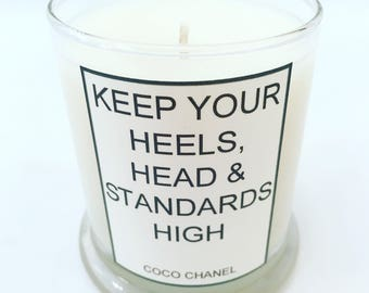 FREE SHIPPING - Coco Chanel - Quote - Handcrafted Soy Candle
