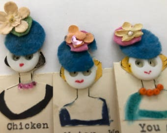 Handmade Sewing Button Face Cards...Eleven Gift Cards, Note Cards or Place Cards