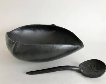 Altered Square Black Bowl w. Spoon